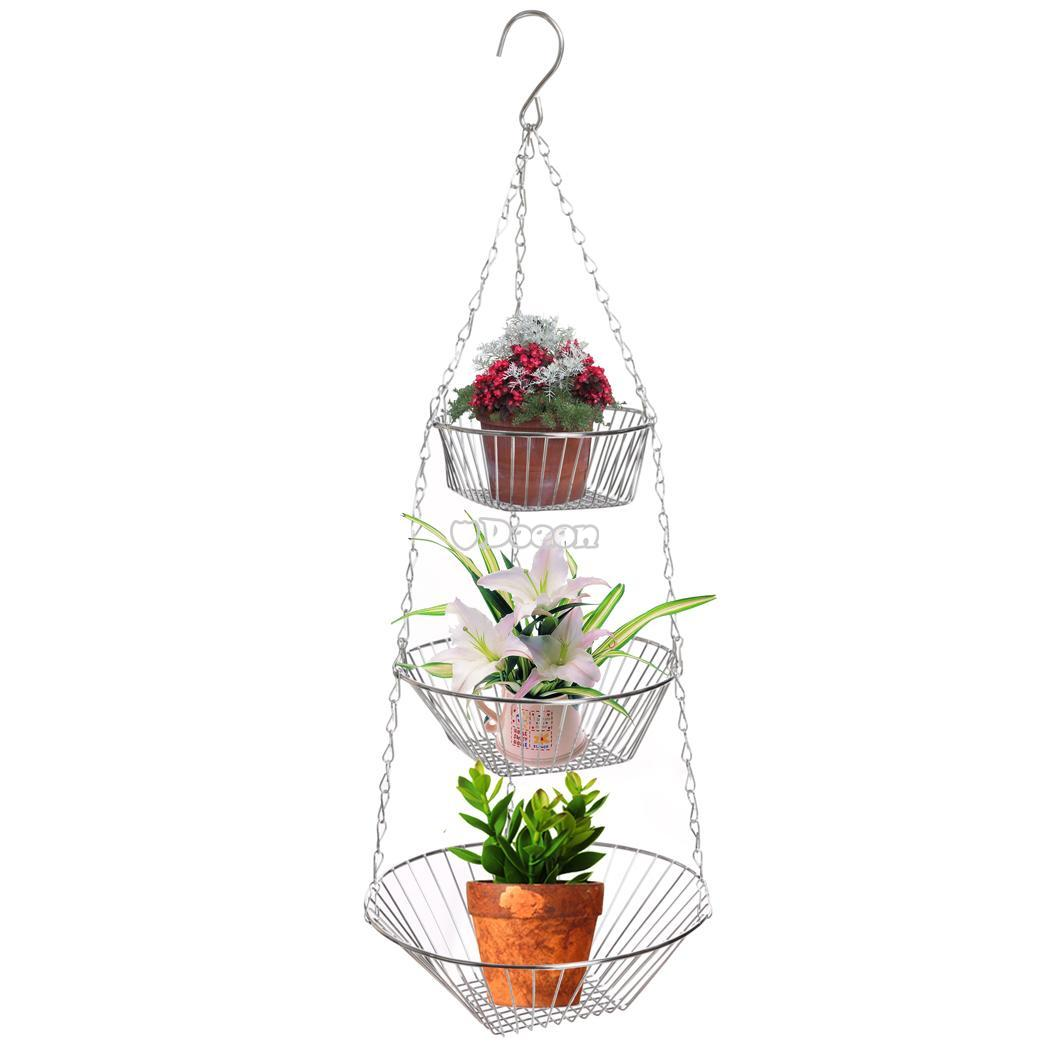 3tier Chrome Hanging Baskets Vegetable And Fruit Rack