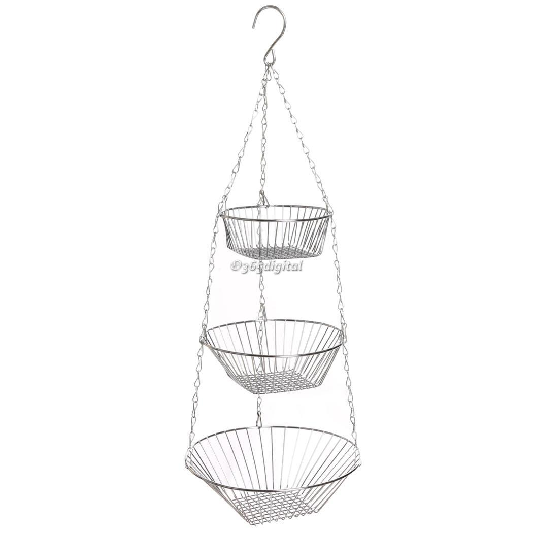 Stainless Steel 3 Tier Wire Hanging Chrome Fruit Flower