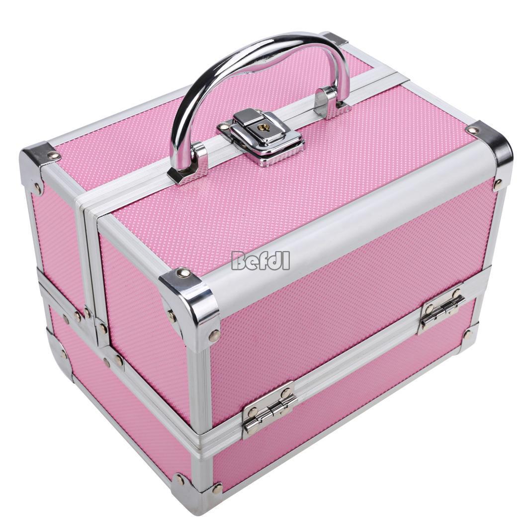 beauty portable aluminum makeup train case cosmetic organizer jewelry mirror. Black Bedroom Furniture Sets. Home Design Ideas