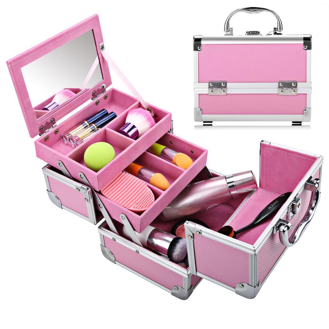Beauty Portable Aluminum Makeup Train Case Cosmetic