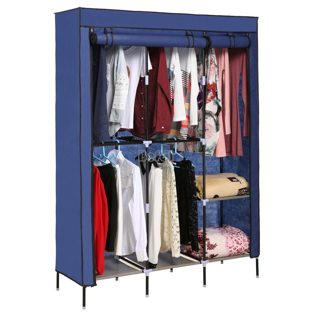New Portable Clothes Closet Wardrobe Double Rod Closet