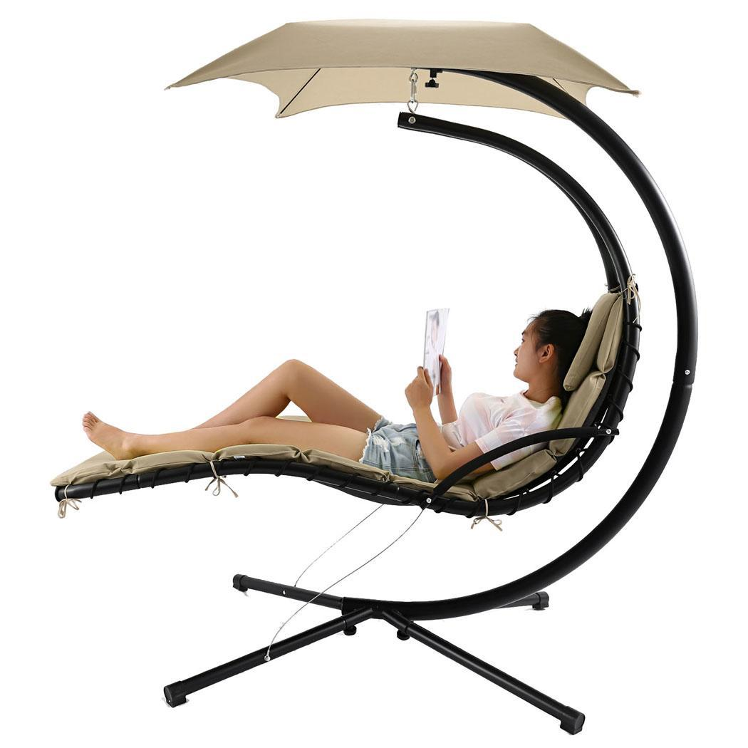 Popular Hanging Chaise Lounger Chair Arc Stand Air Porch Swing Hammock Canopy