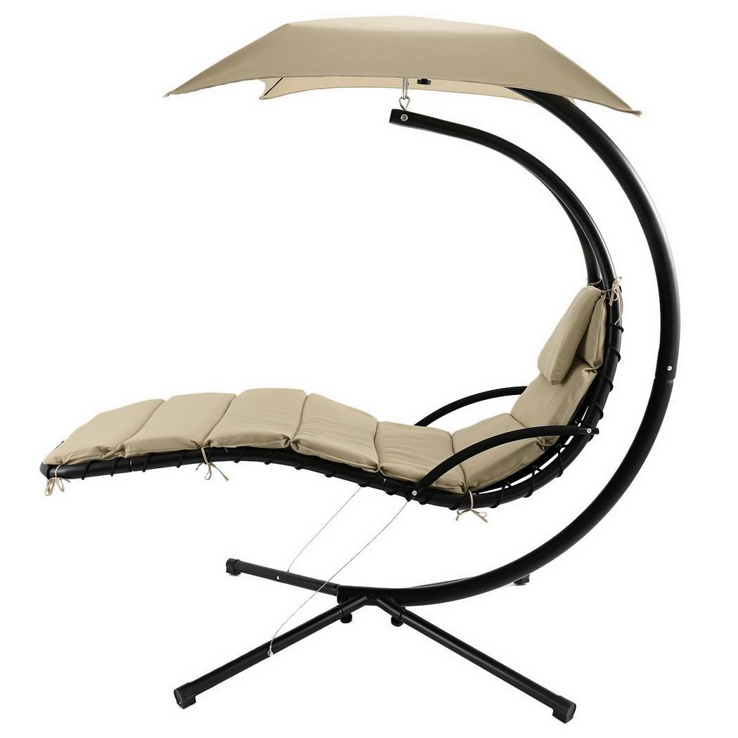 Hanging Sun Lounger Hammock Chaise Chair Swing Garden Seat Stand Air Canopy