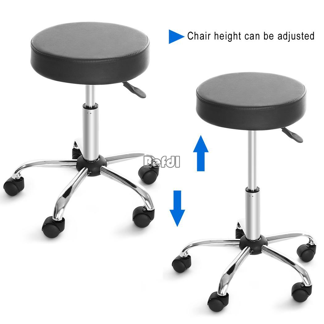 1x Synthetic Leather Round Adjustable Wheels Bar Stool Bar