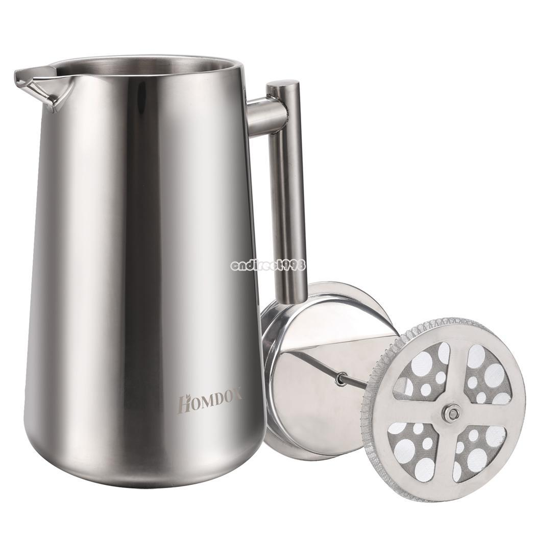 Coffee Maker Stainless Steel Pot : Stainless Steel Homdox Home Office Press Coffee Maker Coffee Pot Chrome Finish eBay