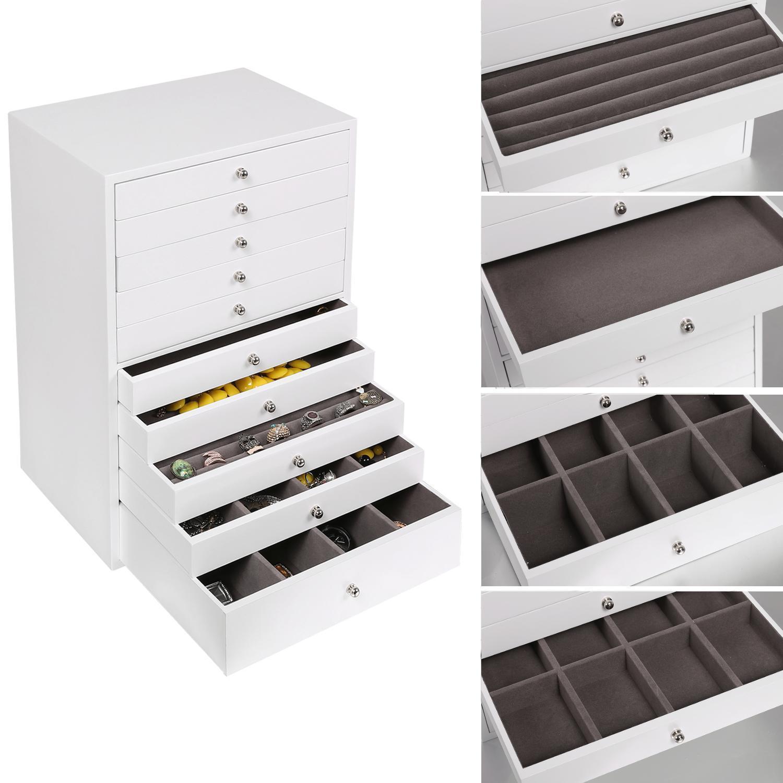 holz schmuckschrank aufbewahrung schmuck schr nkchen 10 schicht mit schubladen ebay. Black Bedroom Furniture Sets. Home Design Ideas