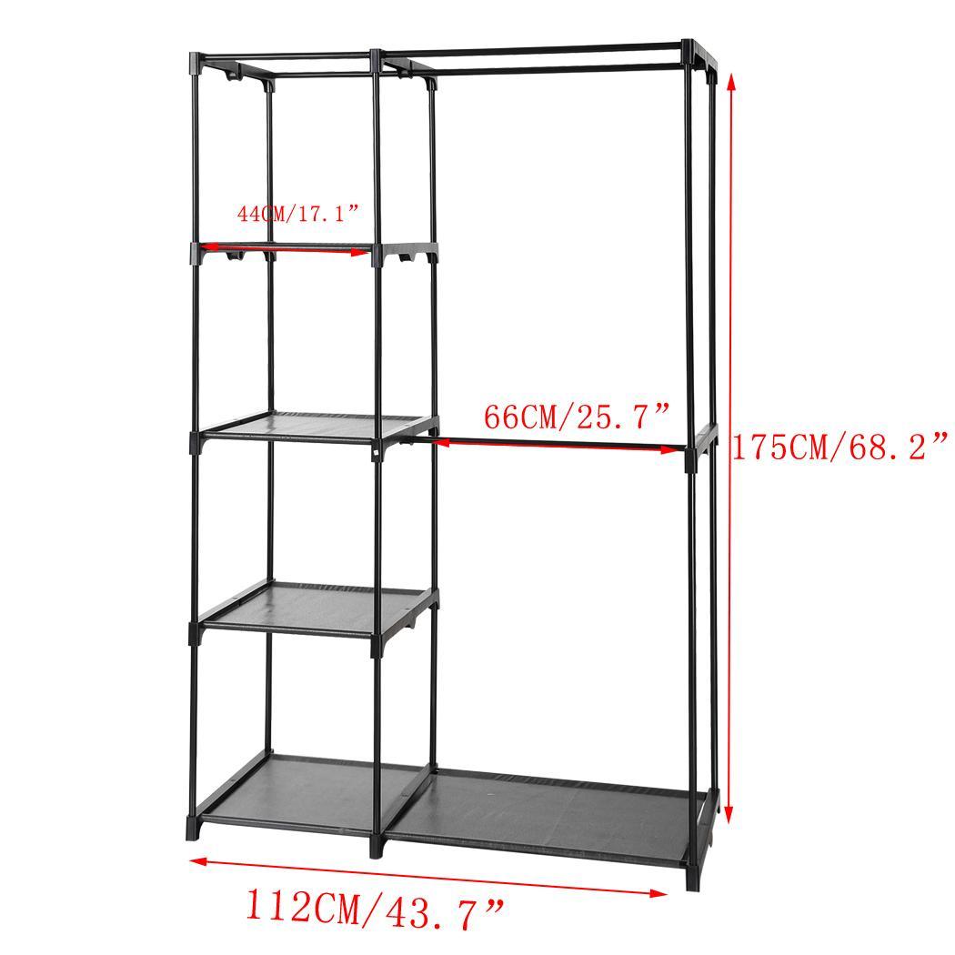 4 5tier portable closet organizer cloth storage wardrobe w. Black Bedroom Furniture Sets. Home Design Ideas