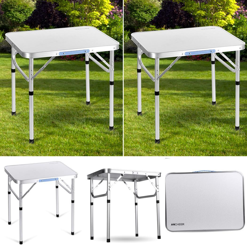2xportable aluminum folding table outdoor camping picnic height adjustable he8y ebay - Camping table adjustable height ...