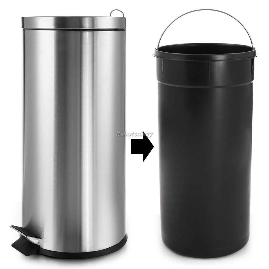 Stainless Steel 30 Liter Garbage Can Office Indoor Waste