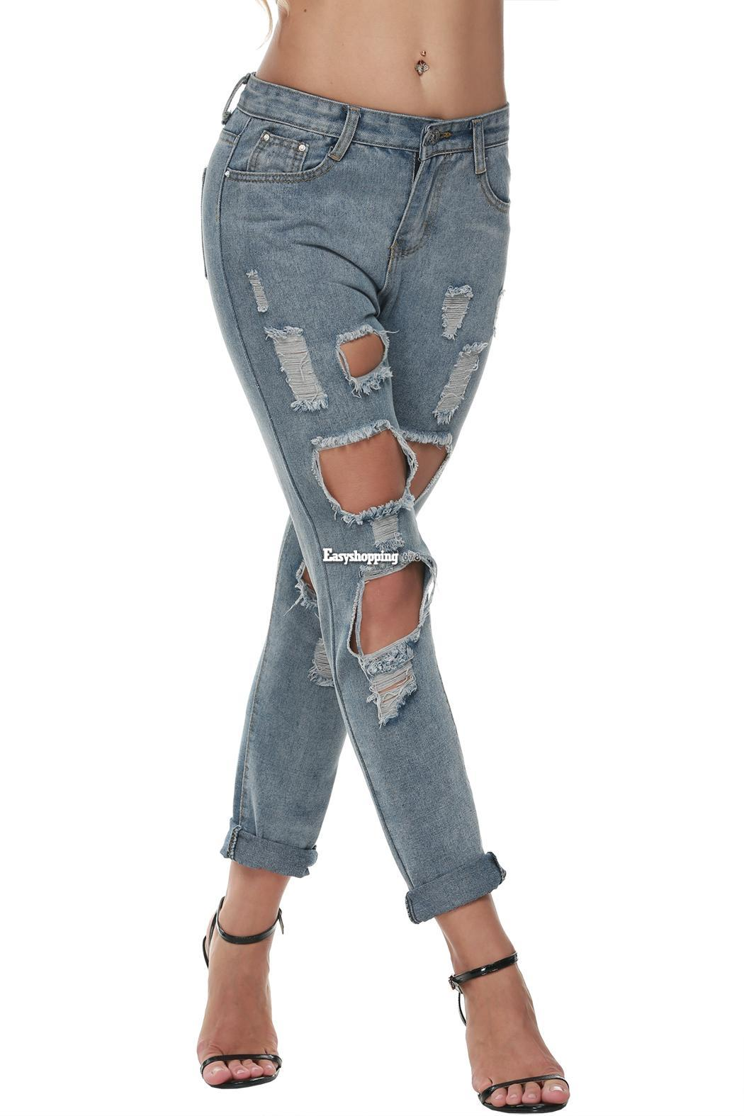 Distressed Women's Jeans with Youthful Appeal Distressed jeans are totally in. From slimming skinnies with holes at the knee to frayed boyfriends that fit just right, Old Navy has the distressed women's jeans you need to stay on-trend and show off your individual style.