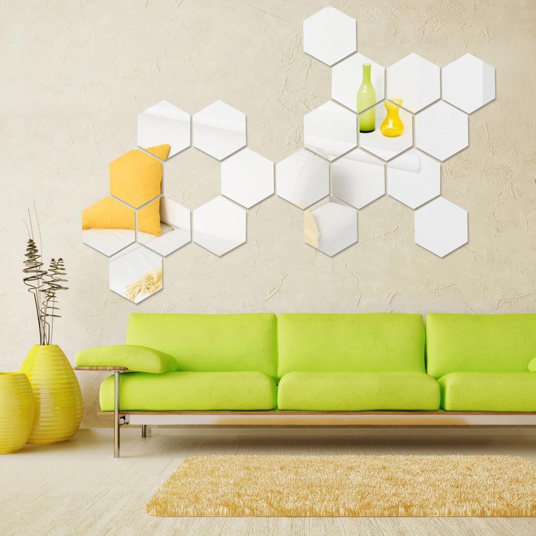 12pcs 3d specchio geometrico esagonale acrilico adesivo da for Specchio esagonale