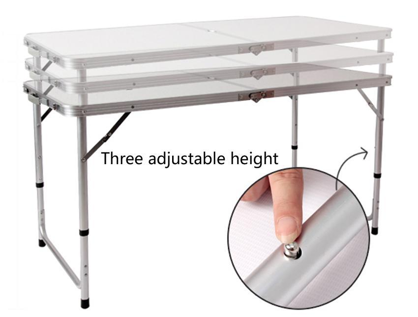 Adjustable height foldable dining table light weight for Dining table weight
