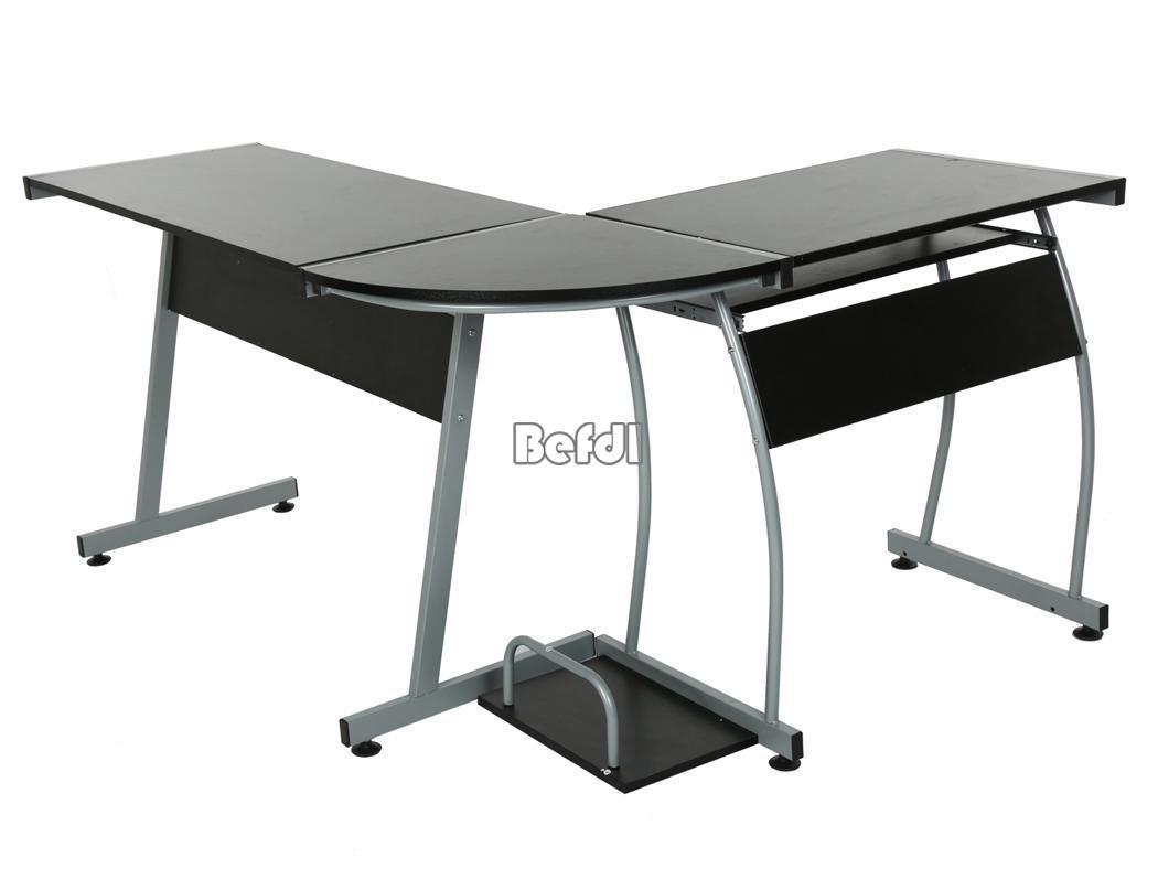 forme de l coin noir ordinateur pc bureau poste de travail maison bureau meuble ebay. Black Bedroom Furniture Sets. Home Design Ideas