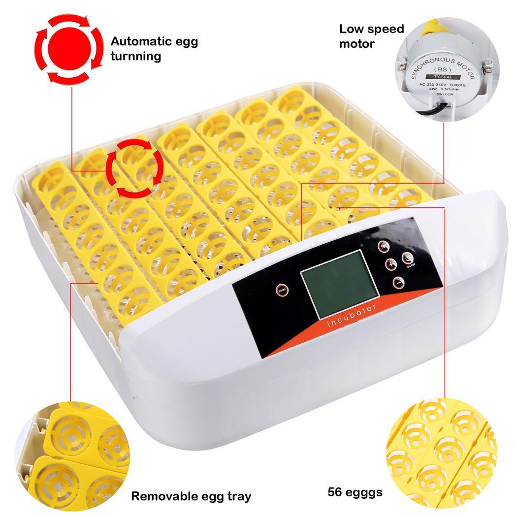 12/56 Egg Incubator Digital Temp Control Poultry Hatcher Egg Turner E7 #C1130A