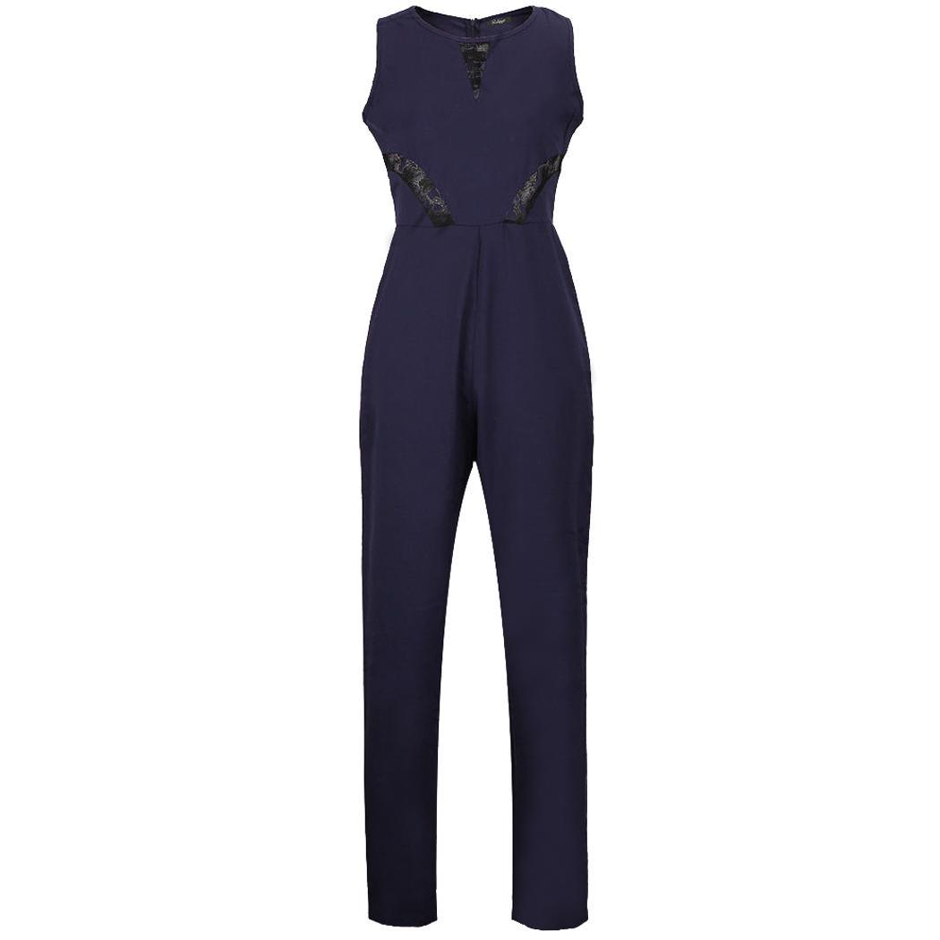 damen overall jumpsuit lang mit spitze onepiece catsuit edel clubwear party s xl ebay. Black Bedroom Furniture Sets. Home Design Ideas
