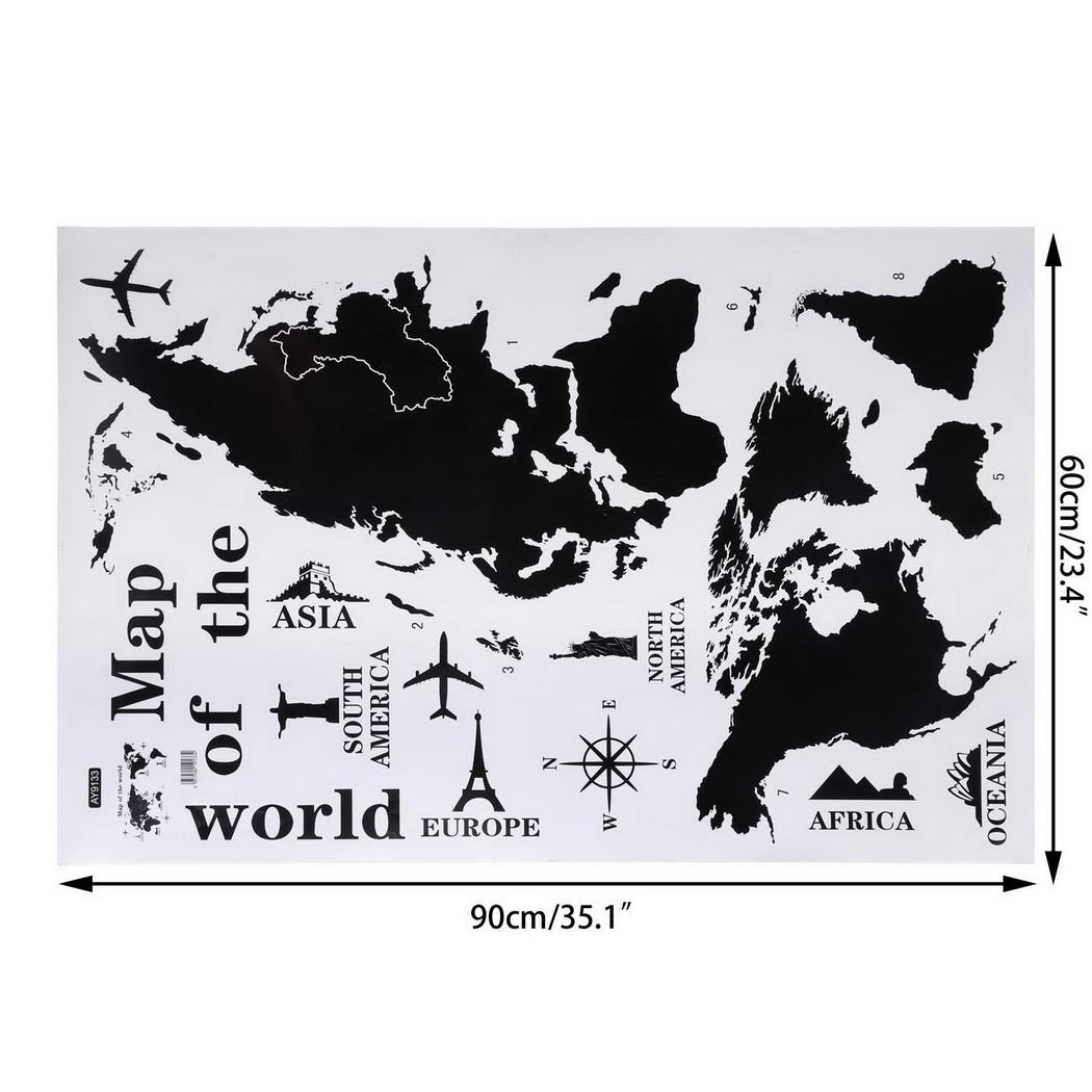 carte du monde atlas stickers muraux dicton pochoir d cor mural transfer ebay. Black Bedroom Furniture Sets. Home Design Ideas