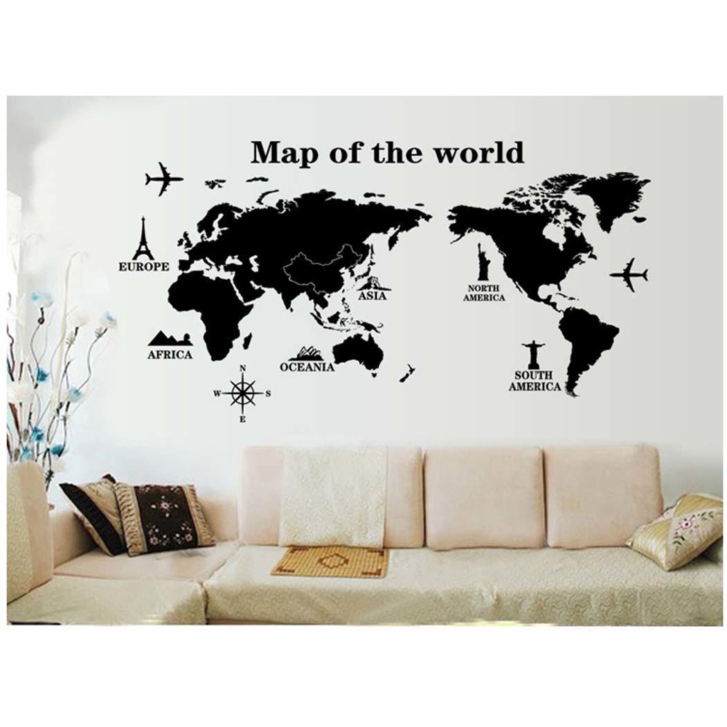 Carte du monde atlas stickers muraux dicton pochoir d cor for Collant mural francais