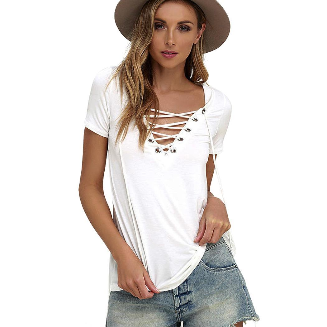 Summer women sexy v neck lace up t shirt short sleeve for Short t shirts ladies