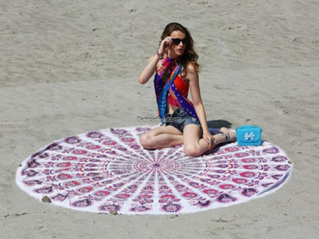hippie rond tapisserie mandala tenture mural indien tapis de plage serviette ebay. Black Bedroom Furniture Sets. Home Design Ideas