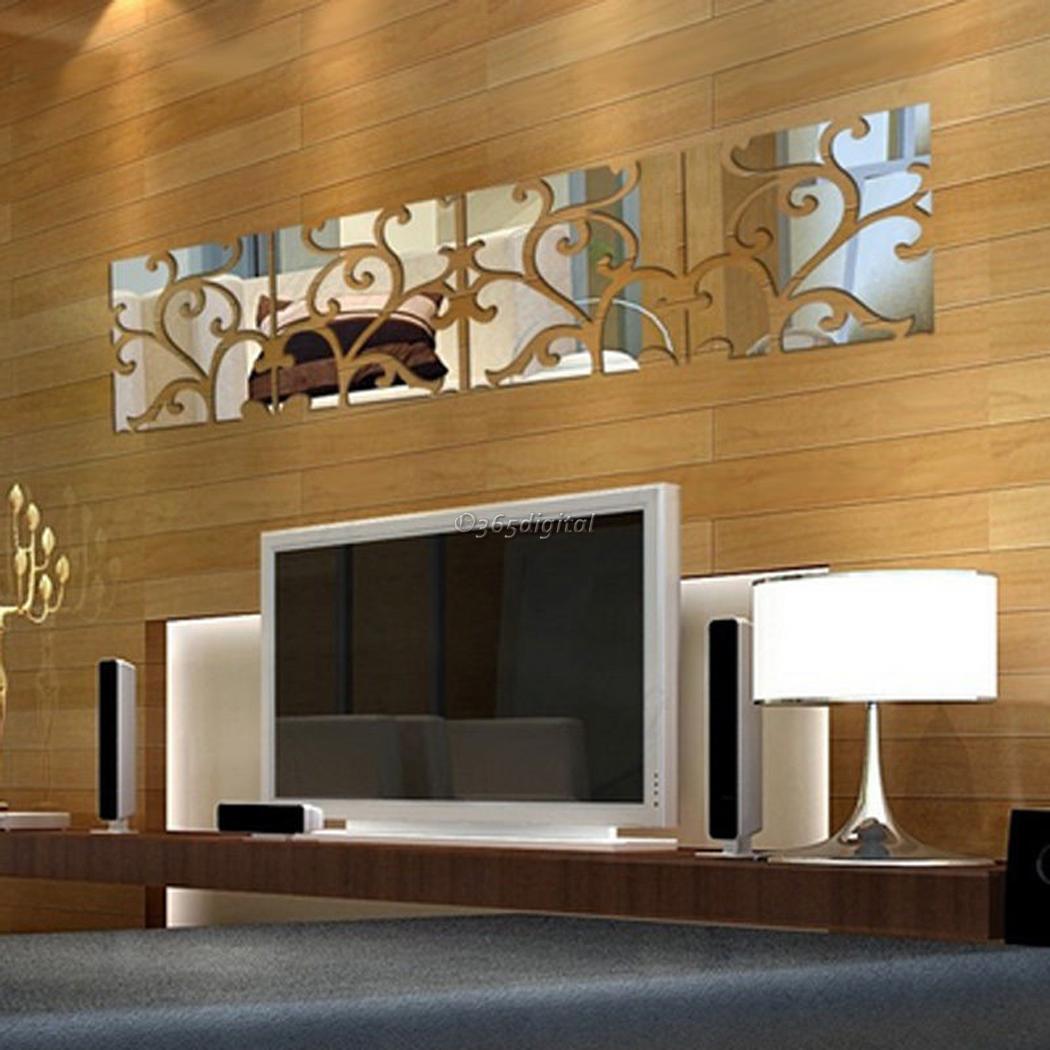 Maison moderne 3d miroir acrylique d calcomanie murale for Miroir mural a coller