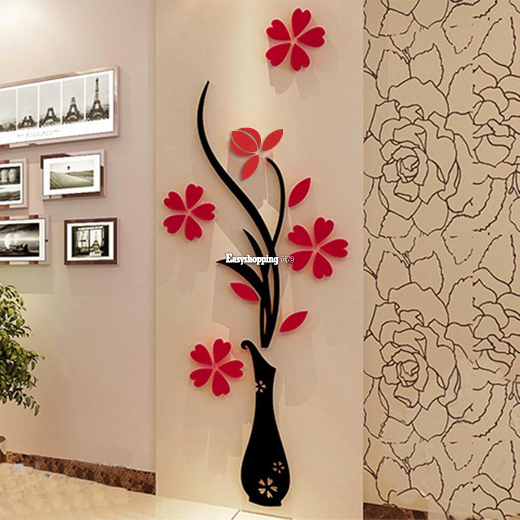 Fai da te 3d fiore specchio da muro decalcomania adesivi arte casa camera - Decoration des mures ...