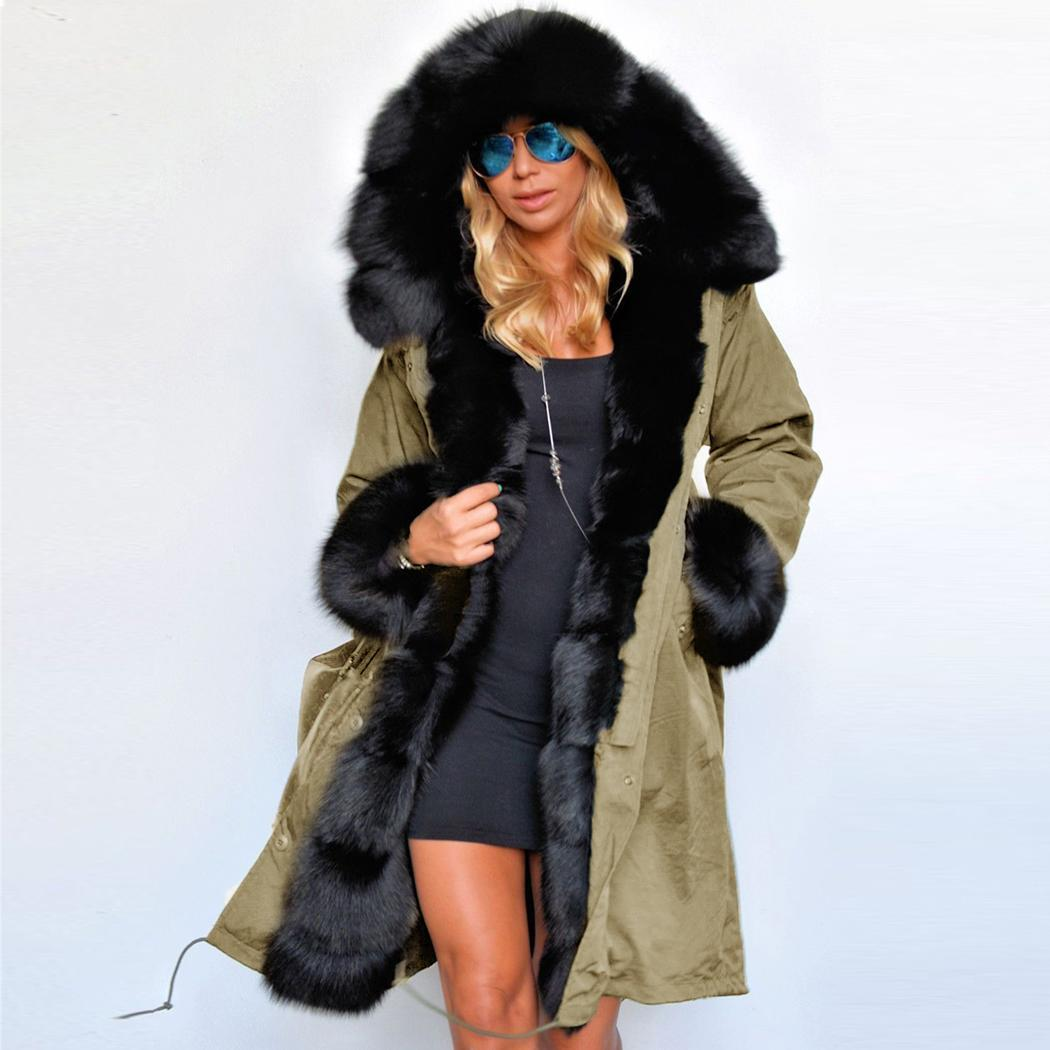 NEW Luxury Womens Warm Hooded Long Coat Jacket Windbreaker ...