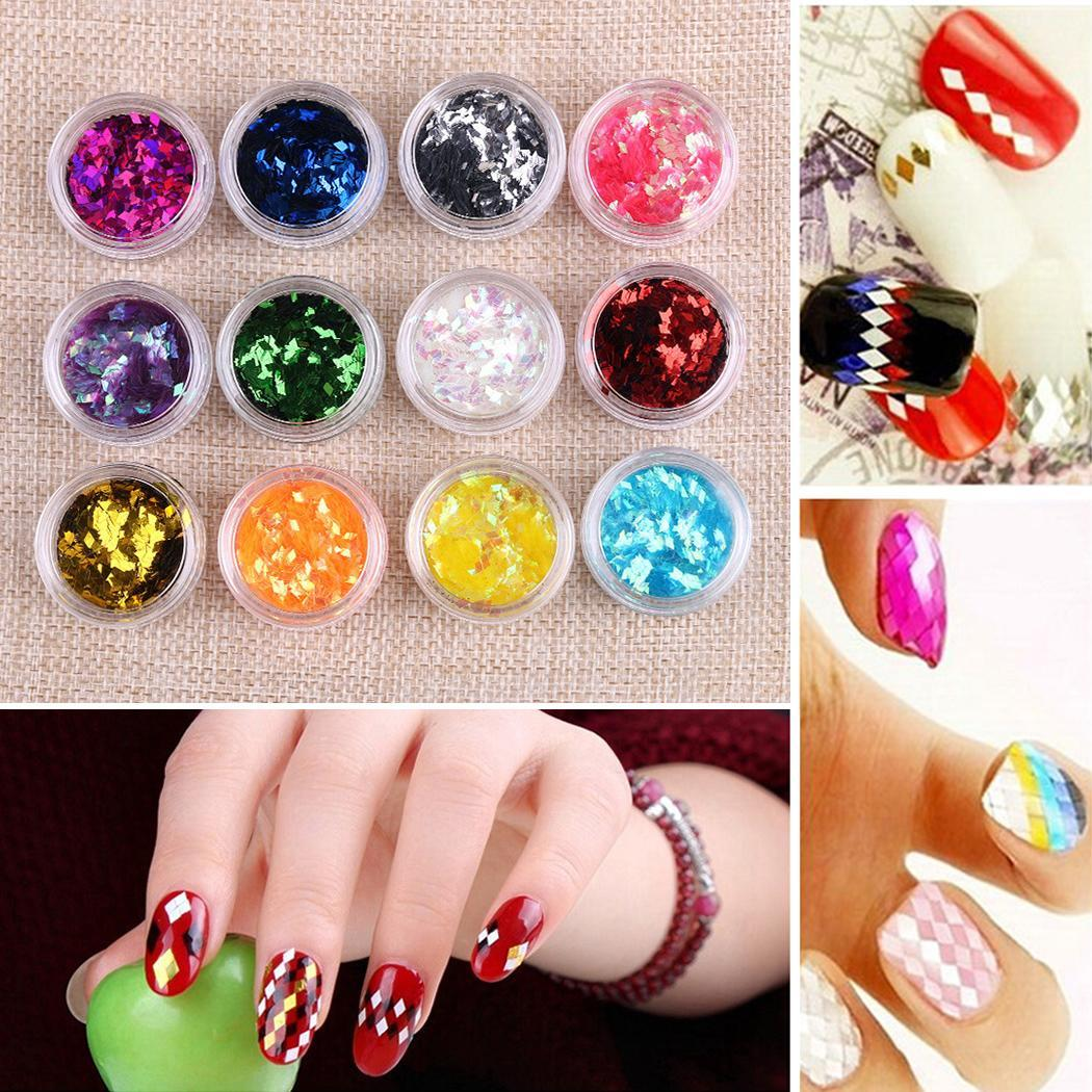 12 colors nail art stickers acrylic 3d glitter sequins for 3d acrylic nail art decoration