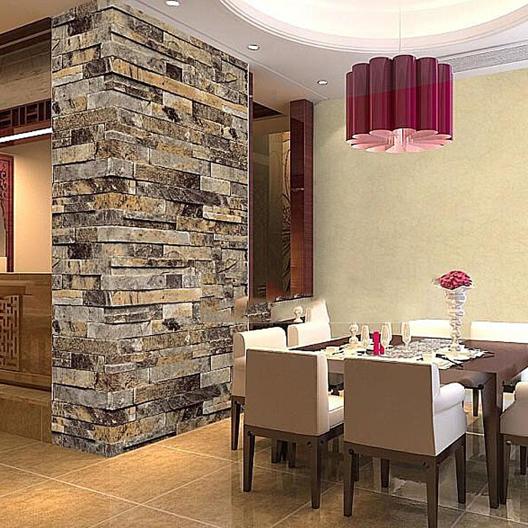 1roll Stacked Brick Stone Faux Realistic Pvc Vinyl