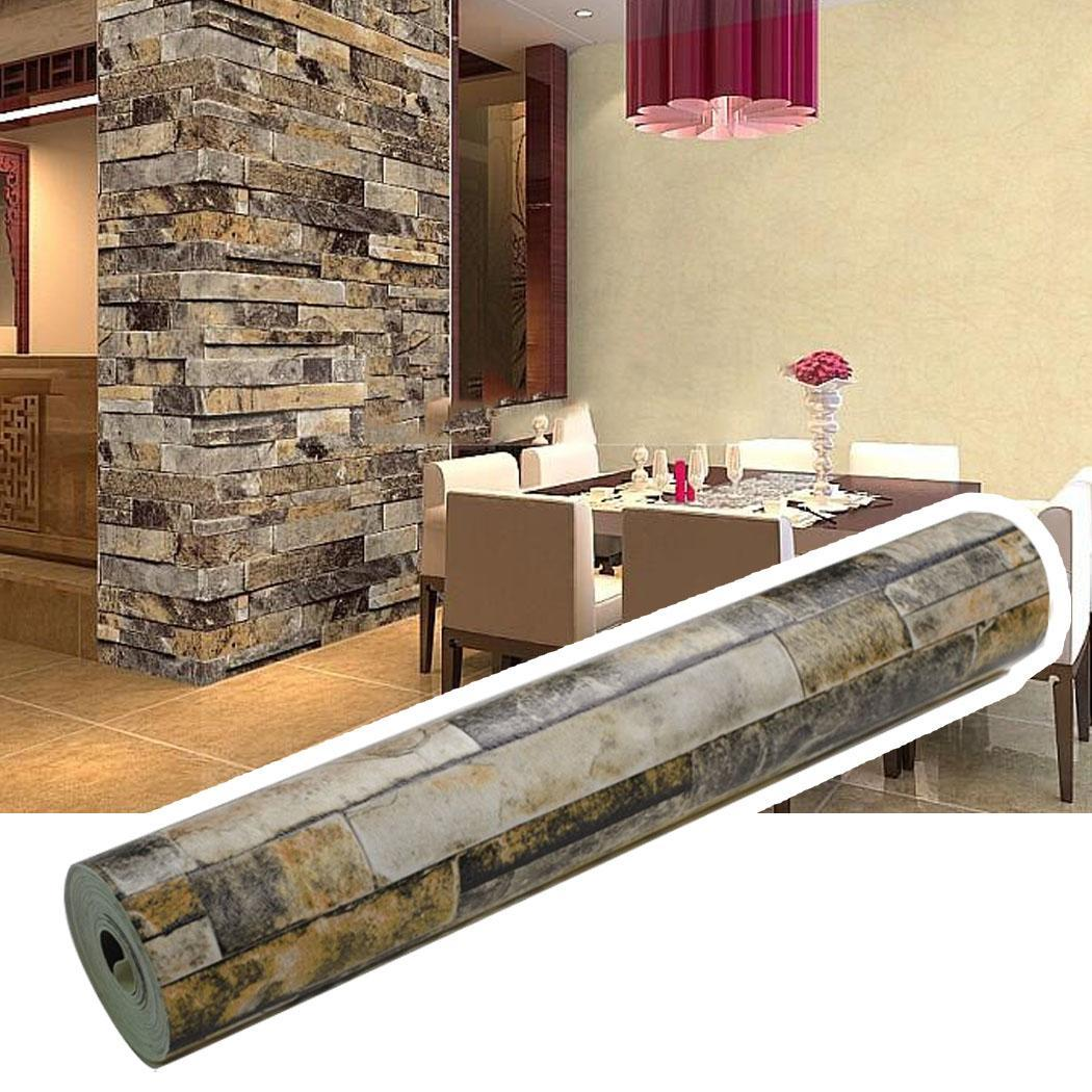 3d realistic rustic rusty sand stacked brick stone rock for Brick wallpaper bedroom ideas