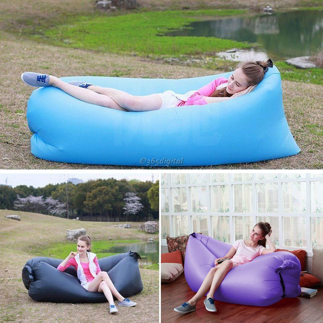 Outdoor Instantly Inflatable Lazy Sofa Cushion Hangout Lounge Beach Chair Bag