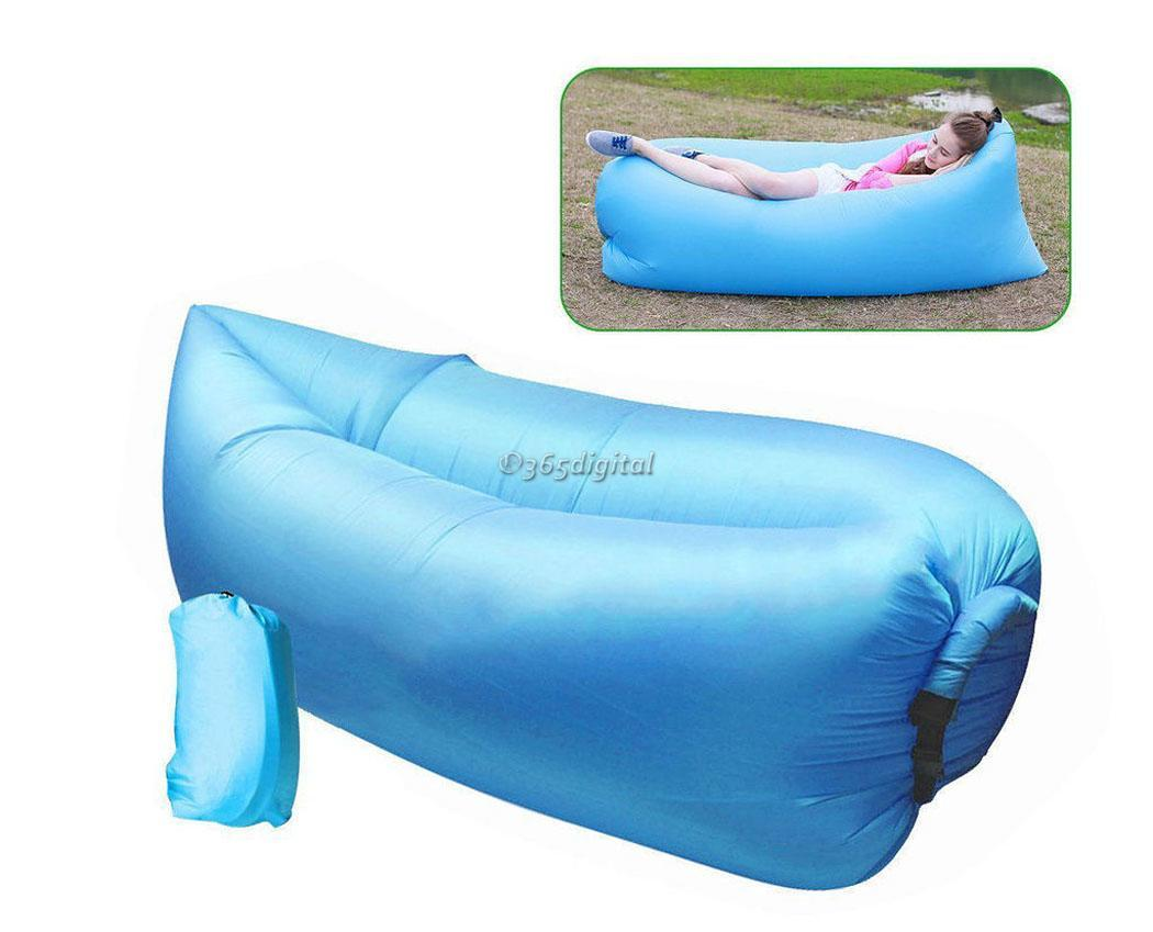 Outdoor Instantly Inflatable Lazy Sofa Cushion Hangout Lounge Beach Chair Bag UK