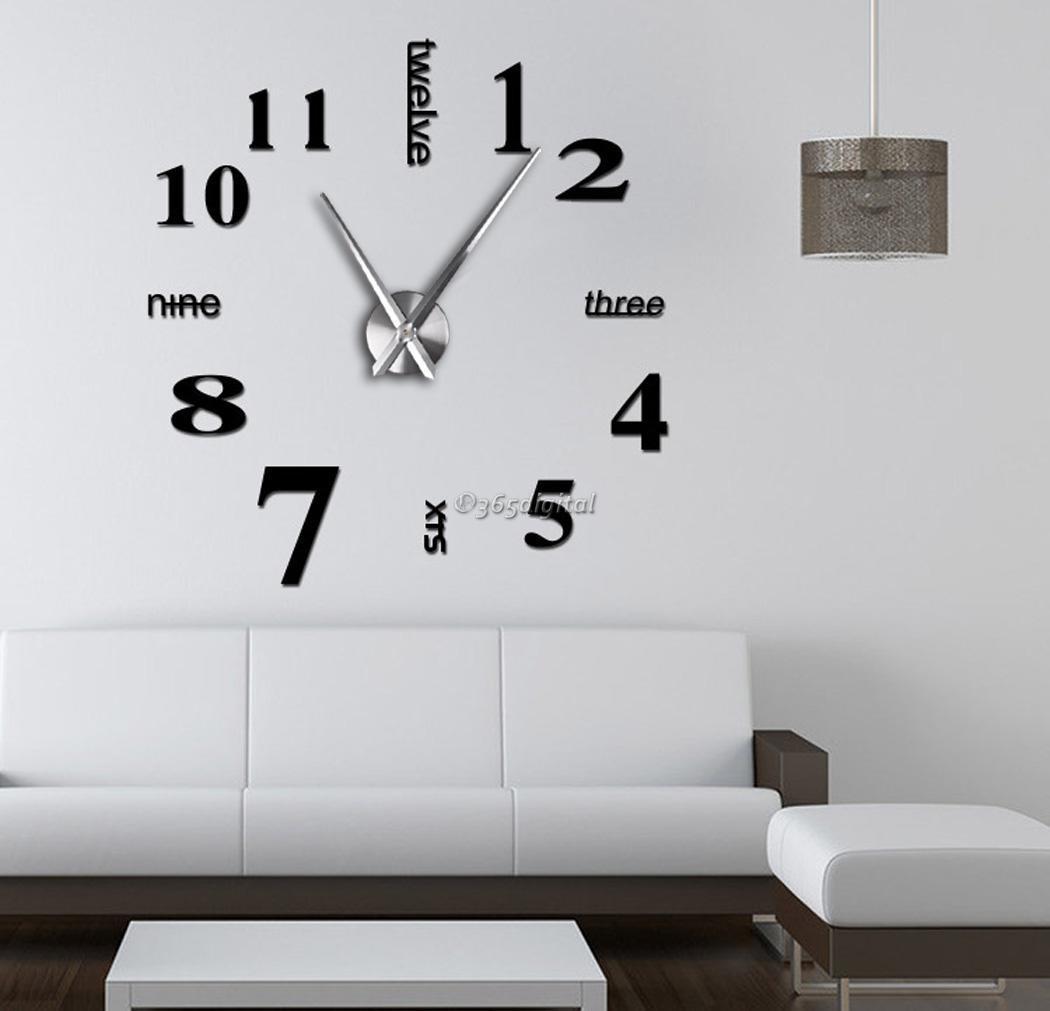Moderne grand horloge murale 3d miroir surface autocollant d cor maison art ebay - Grande horloge murale moderne ...