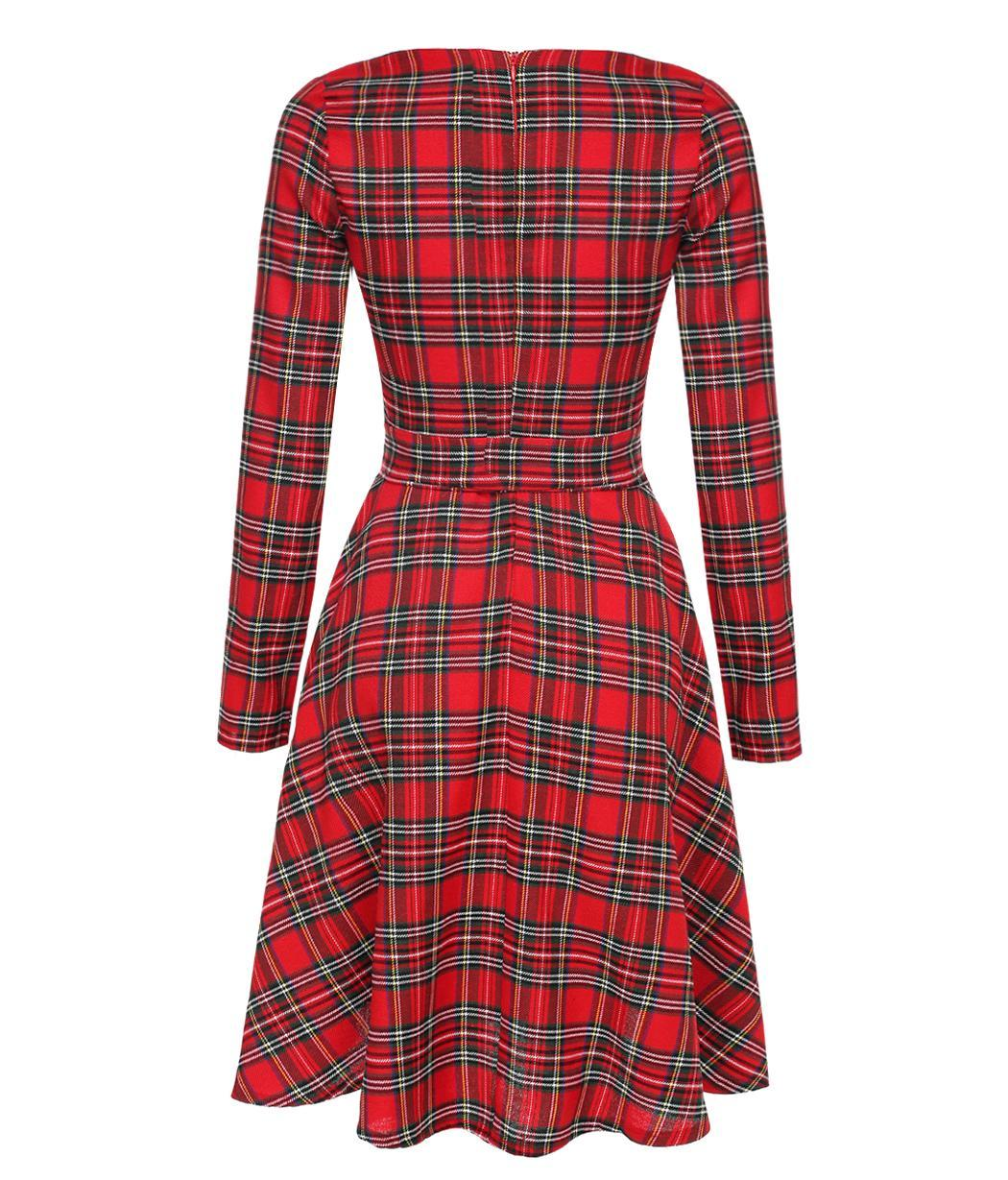 Womens Black Red Plaid Check Flannel Long Sleeve Waist
