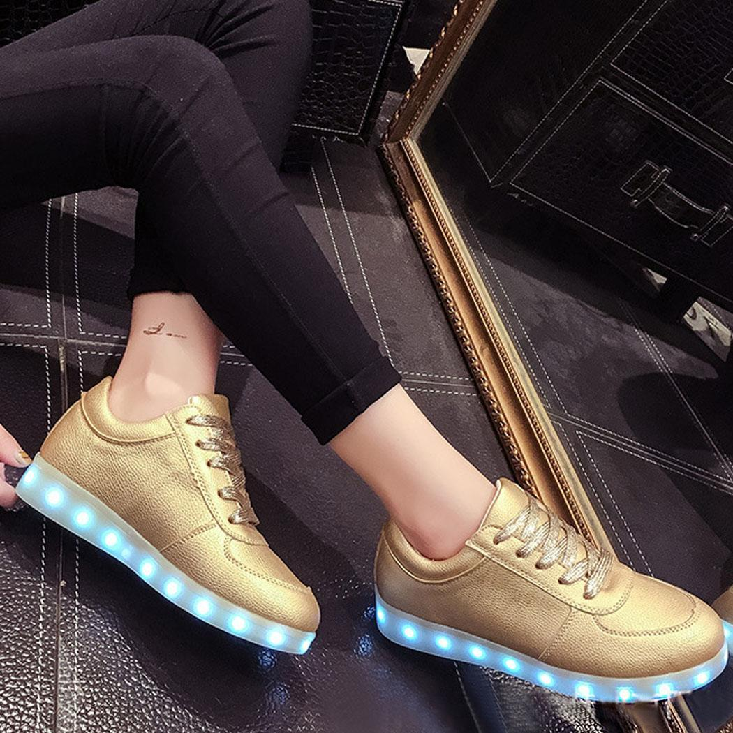 unisex frauen herren led schuhe licht leuchtend sneaker farbwechsel blinkschuhe ebay. Black Bedroom Furniture Sets. Home Design Ideas