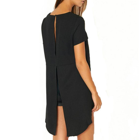 femmes dos nu split manches courtes chemise chemisier t. Black Bedroom Furniture Sets. Home Design Ideas