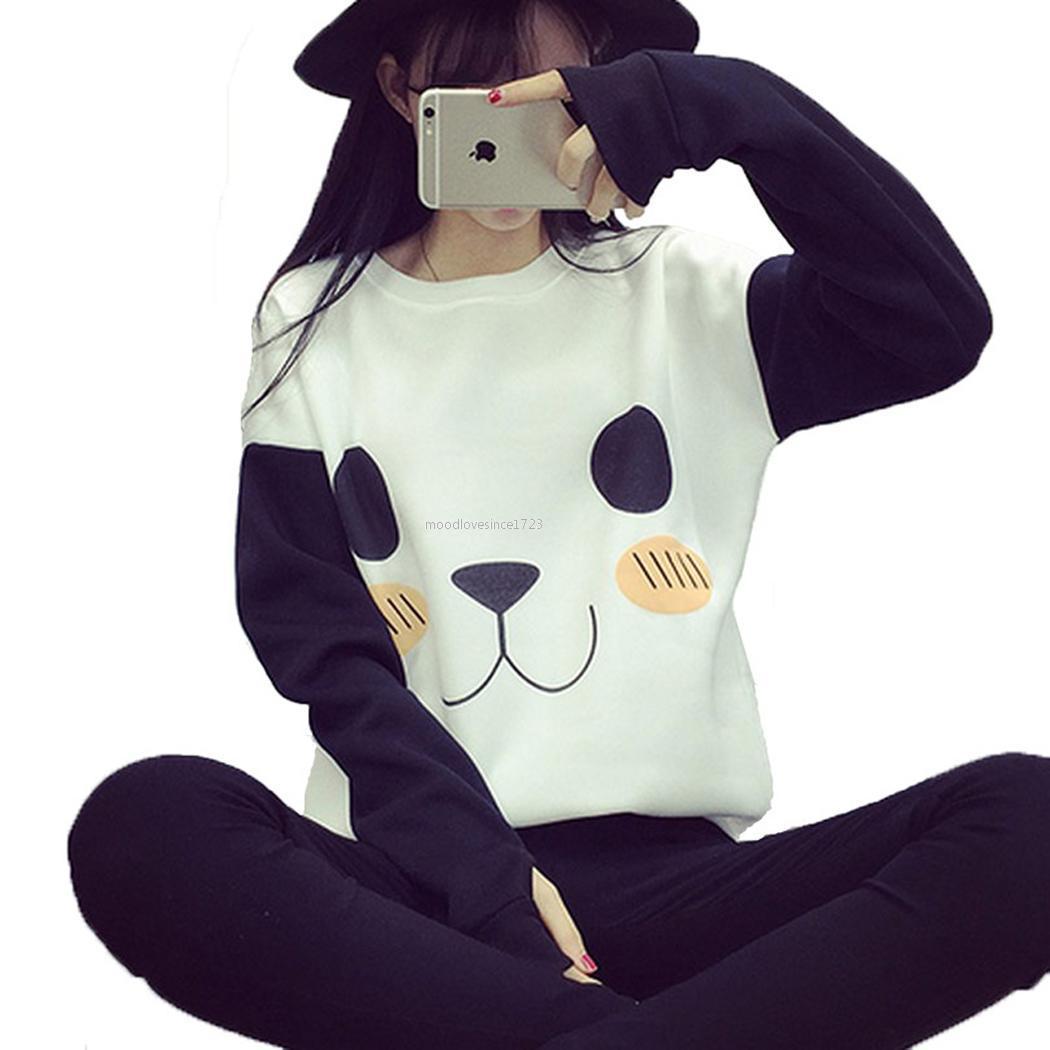 Girls Cute Cartoon Panda Print Hoodie Jacket Slim ...