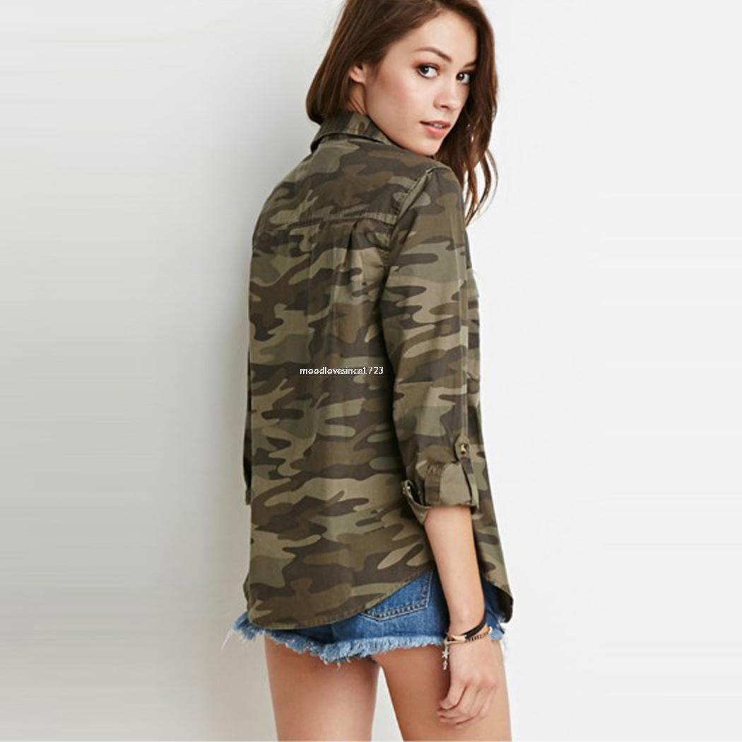 Women 39 S Army Green Camouflage Shirt Autunm Fashion Button