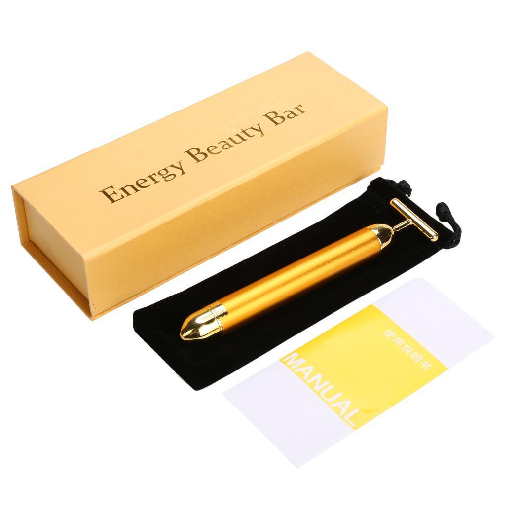 new women beauty bar facial roller massager battery power t head gold n98b ebay. Black Bedroom Furniture Sets. Home Design Ideas