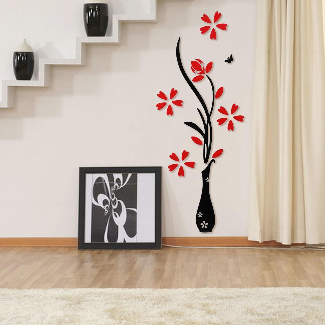3d vase flower tree crystal arcylic wall stickers art home for Room decor 5d stickers