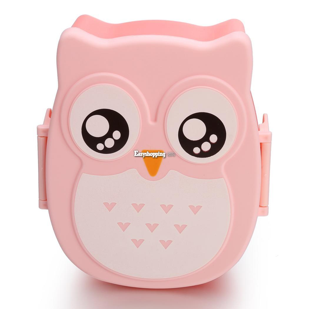 new cute cartoon owl lunch box portable bento box picnic container with es9p ebay. Black Bedroom Furniture Sets. Home Design Ideas