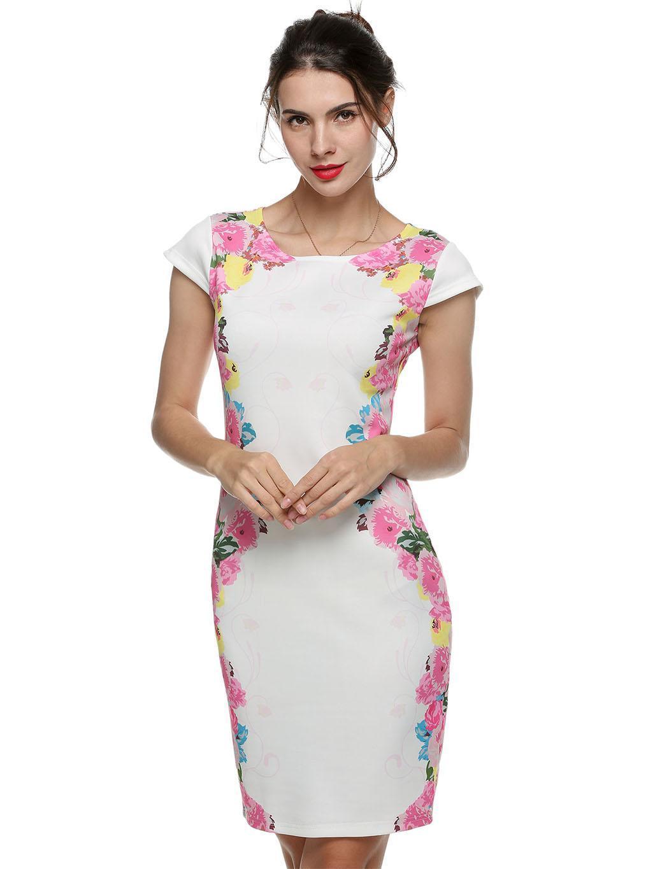 Compra Vestido De Tubo Manga Corta Yucheer Estampada Floral Para ... b3e3d635b57c