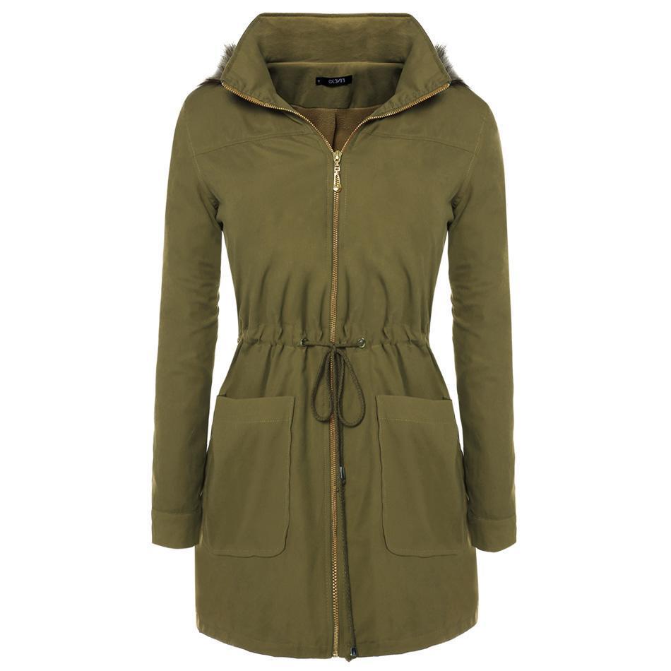 Compra Finejo Parka Abrigo Para Mujer-Verde Del Ejército online ... 030bf229b911