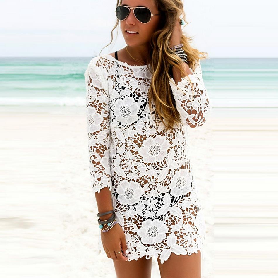 917275c23 Compra Yucheer Vestido De Cordón Con Hueco Floral De Playa Para ...