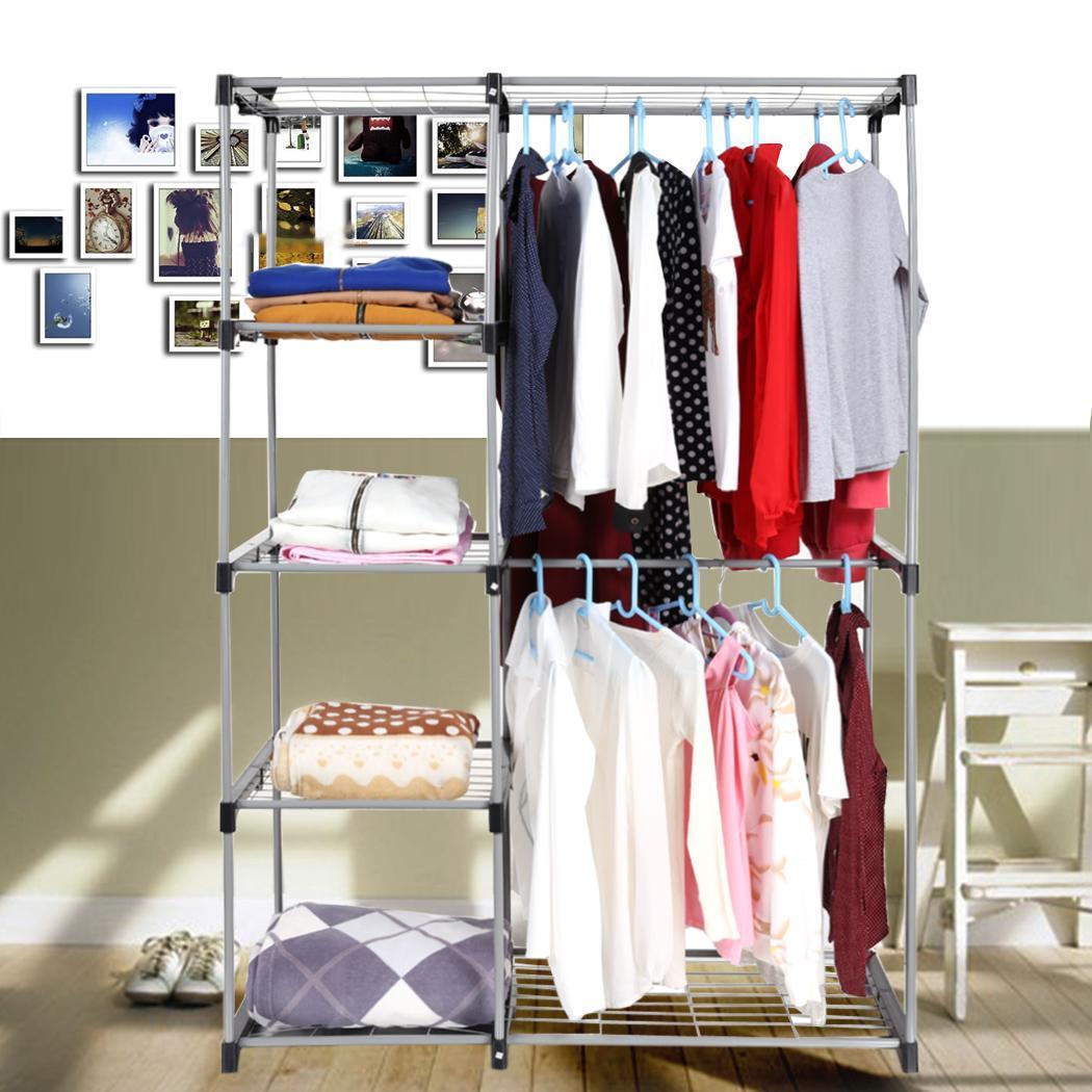Double Rod Closet Organizer Hanging Rack Clothes Storage