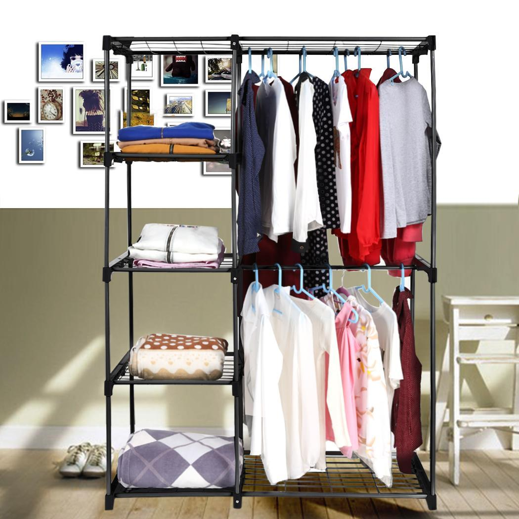 double rod closet organizer hanging rack clothes storage. Black Bedroom Furniture Sets. Home Design Ideas