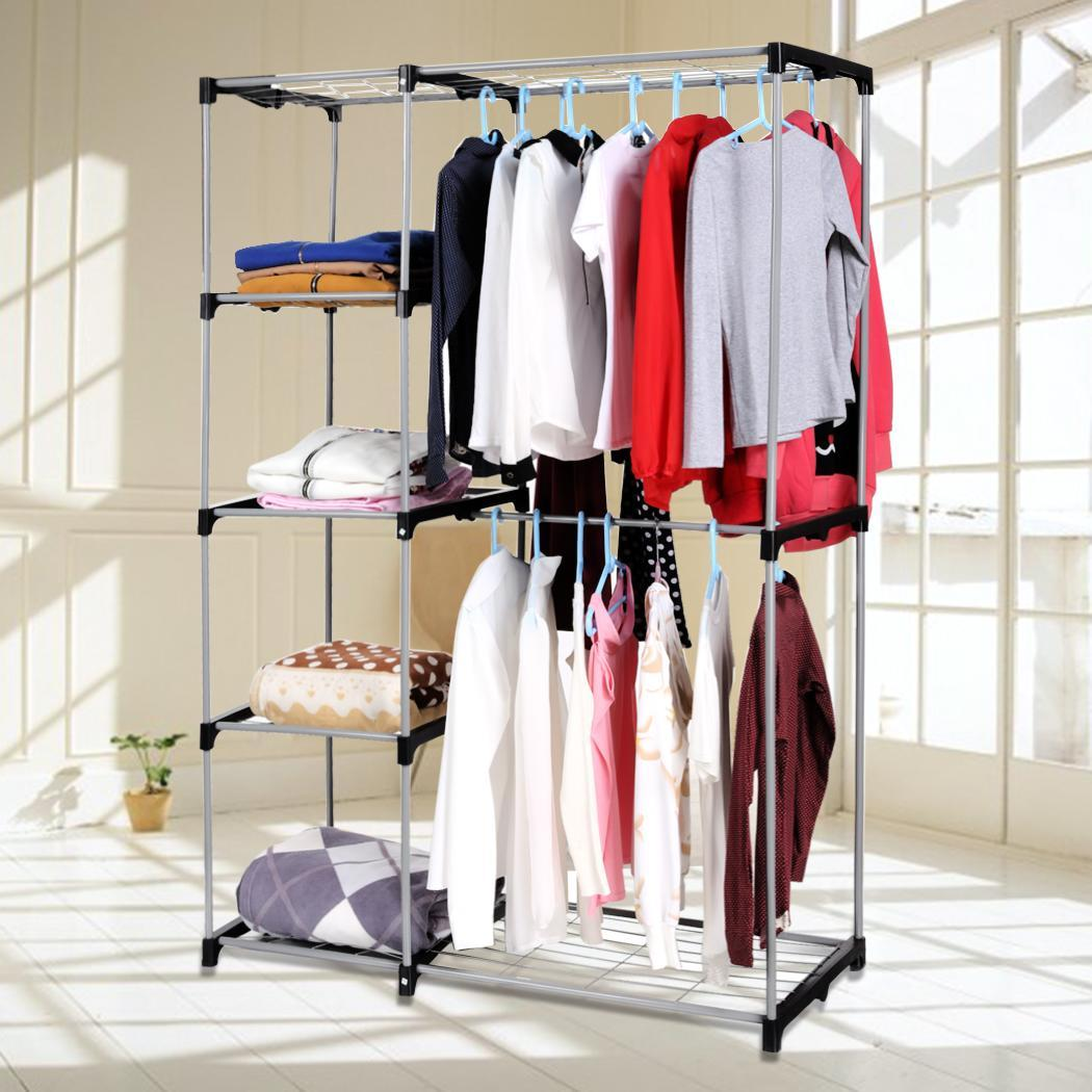 Double Rod Closet Organizer Hanging Rack Clothes Storage