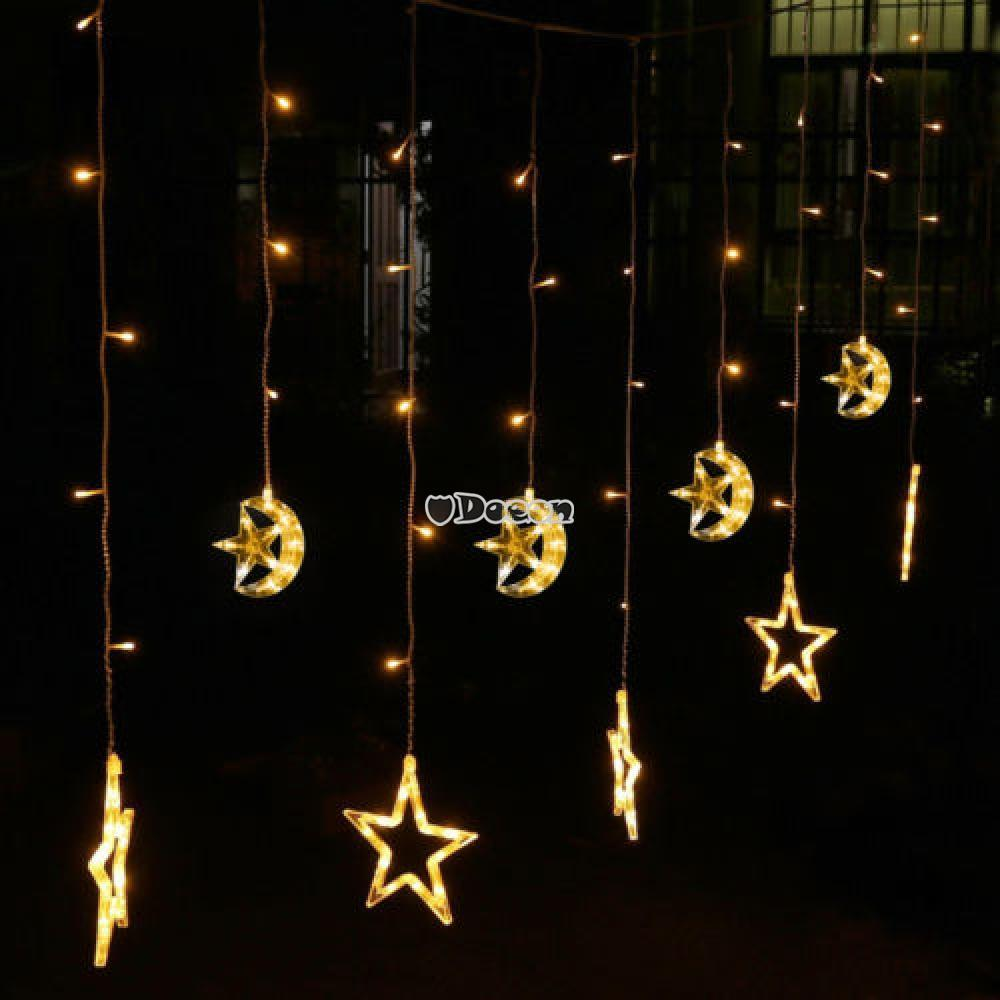 Star Moon String Lights : 12-Star-Moon LED Curtain Light String Fairy Lights Chrismas Xmas Party Wed DN00 eBay