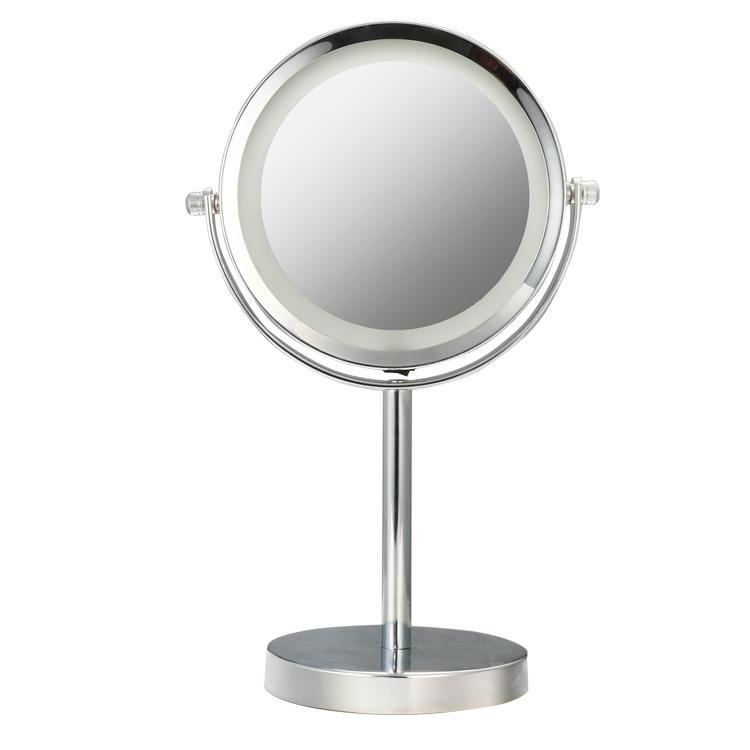 5x 1x magnification battery operated led lighted vanity makeup mirror stainle. Black Bedroom Furniture Sets. Home Design Ideas