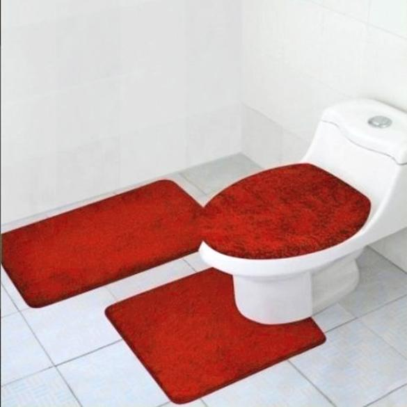3pcs bathroom rug set bathroom rug contour mat lid toilet cover black red green. Black Bedroom Furniture Sets. Home Design Ideas