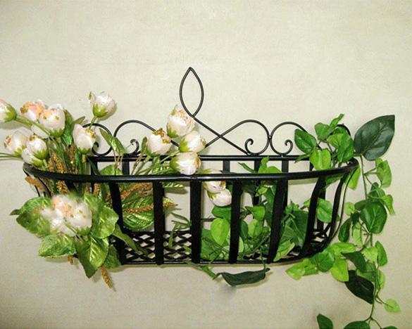 wrought iron window planter box wall plant garden holder metal hanging gs8d ebay. Black Bedroom Furniture Sets. Home Design Ideas